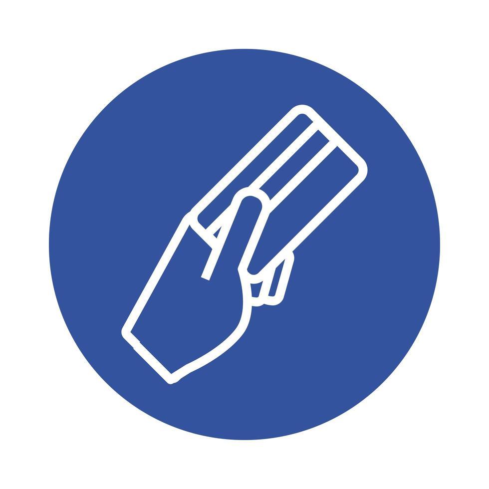 Hand mit Kreditkarte E-Commerce-Block-Stil vektor