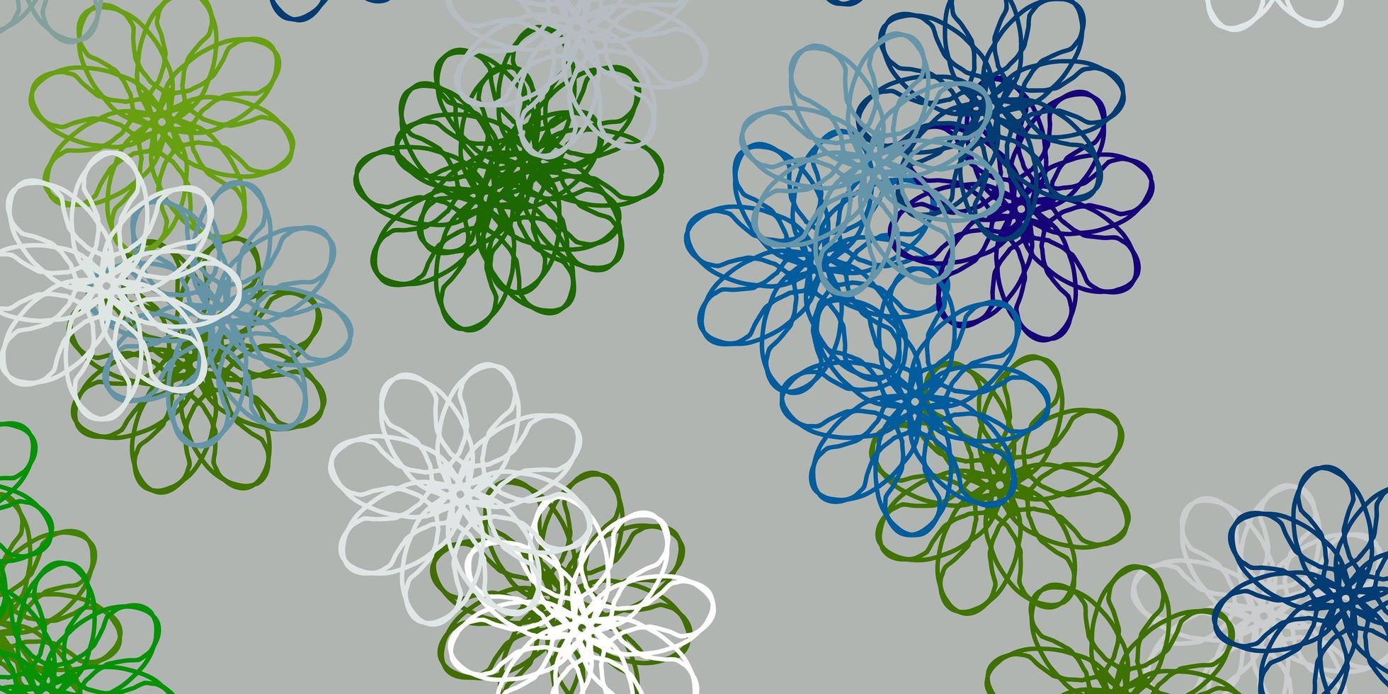 ljusblå, grön vektor doodle mönster med blommor.