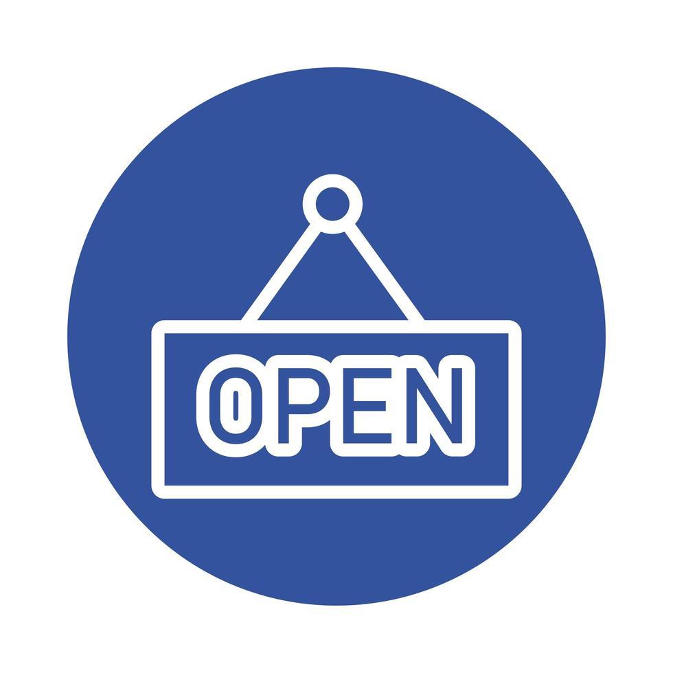 Open Store Label hängen Block Stil vektor