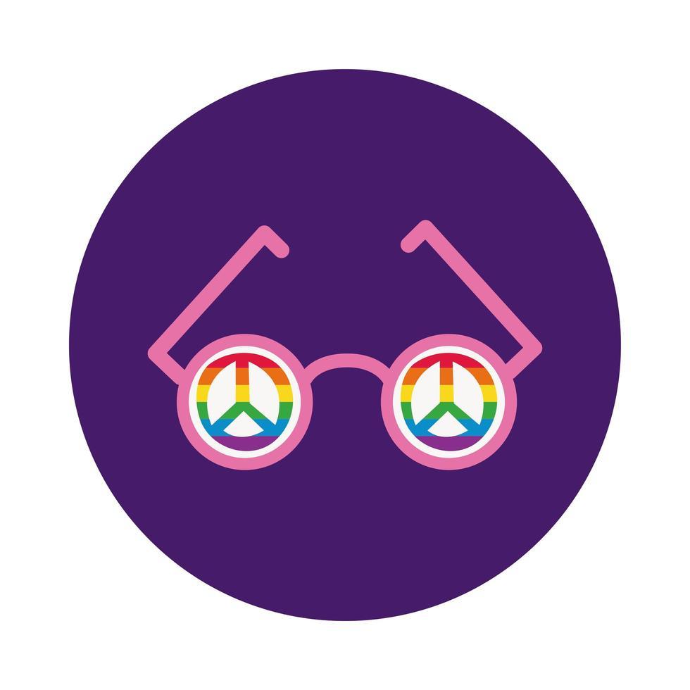glasögon med fredsymboler i gay pride-färger blockerar stil vektor