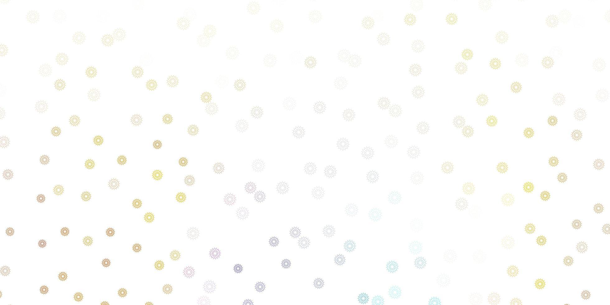hellblauer, gelber Vektor kritzeln Hintergrund mit Blumen.