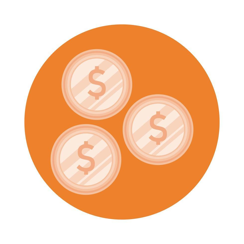 Münzen Geld Dollar Block Stil vektor