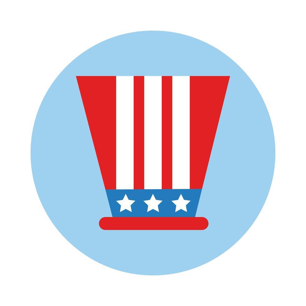 USA Hut mit Flag Block Block Stil vektor