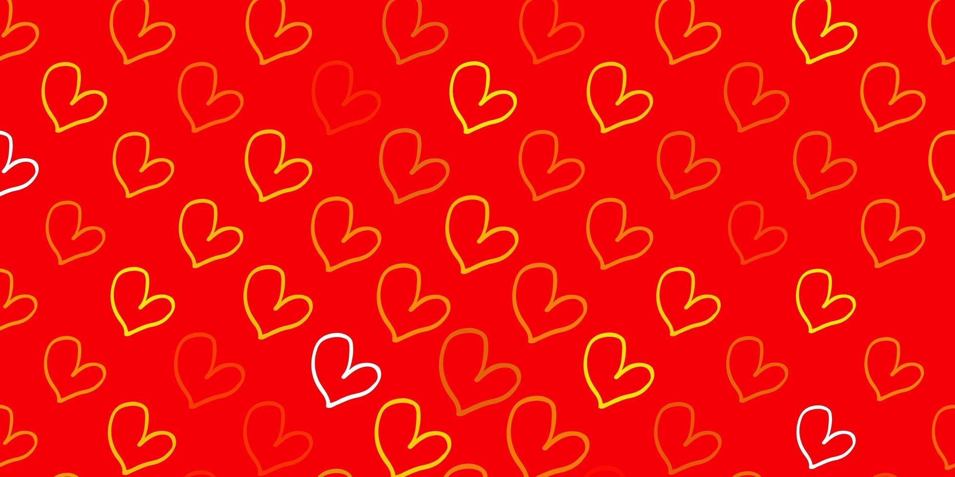 hellgrüner, gelber Vektorhintergrund mit süßen Herzen. vektor