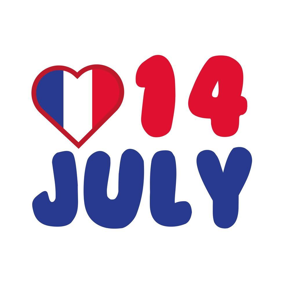 Frankreich Flagge im Herzen mit 14 Juli Hand zeichnen Stil vektor