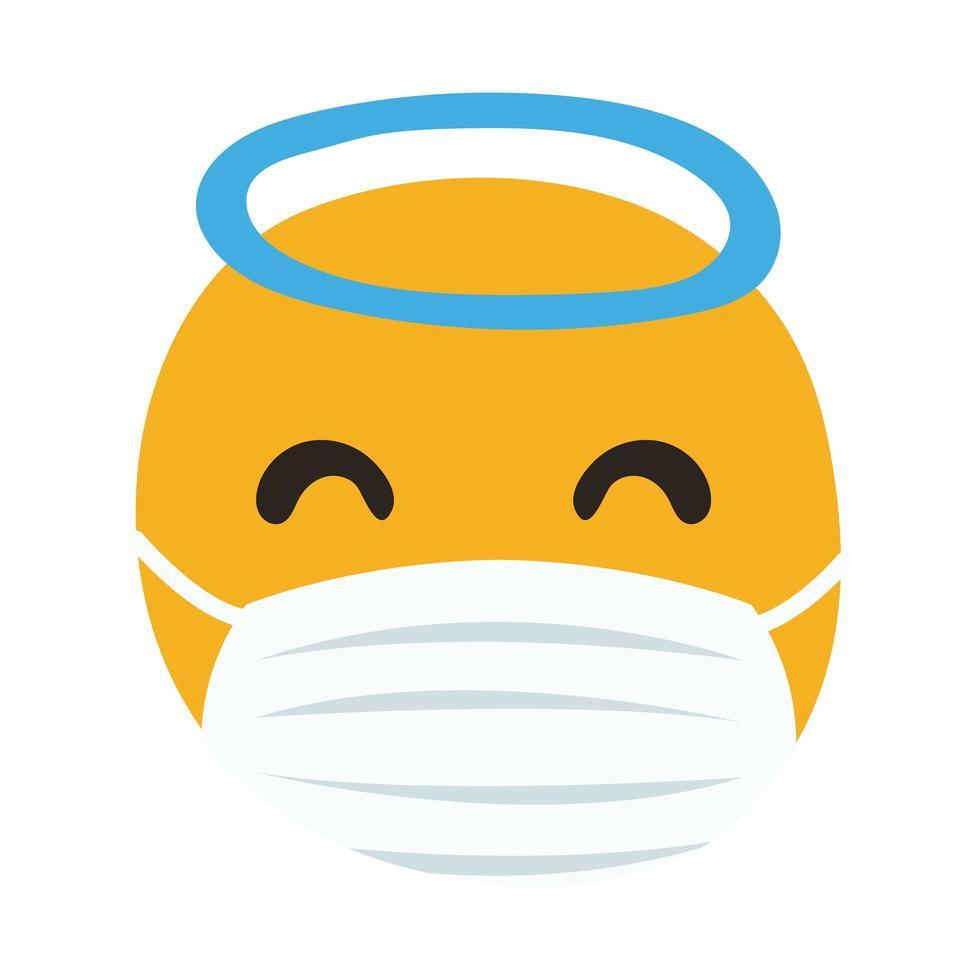 Emoji Engel tragen medizinische Maske Hand zeichnen Stil vektor