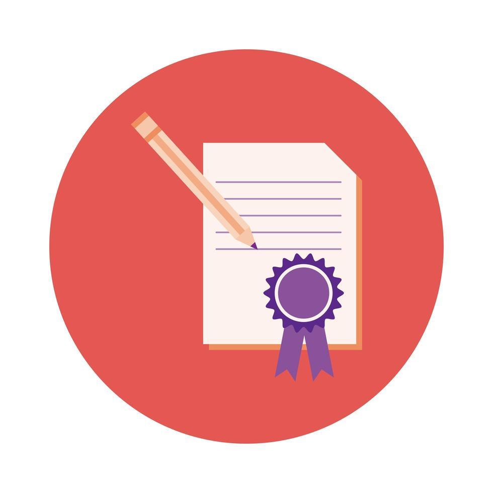 dokument med medalj och penna block stil vektor