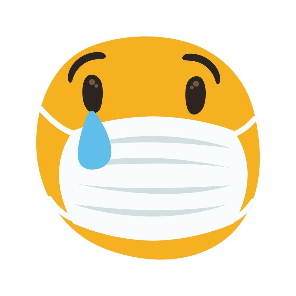 emoji som bär medicinsk mask gråtande handritstil vektor