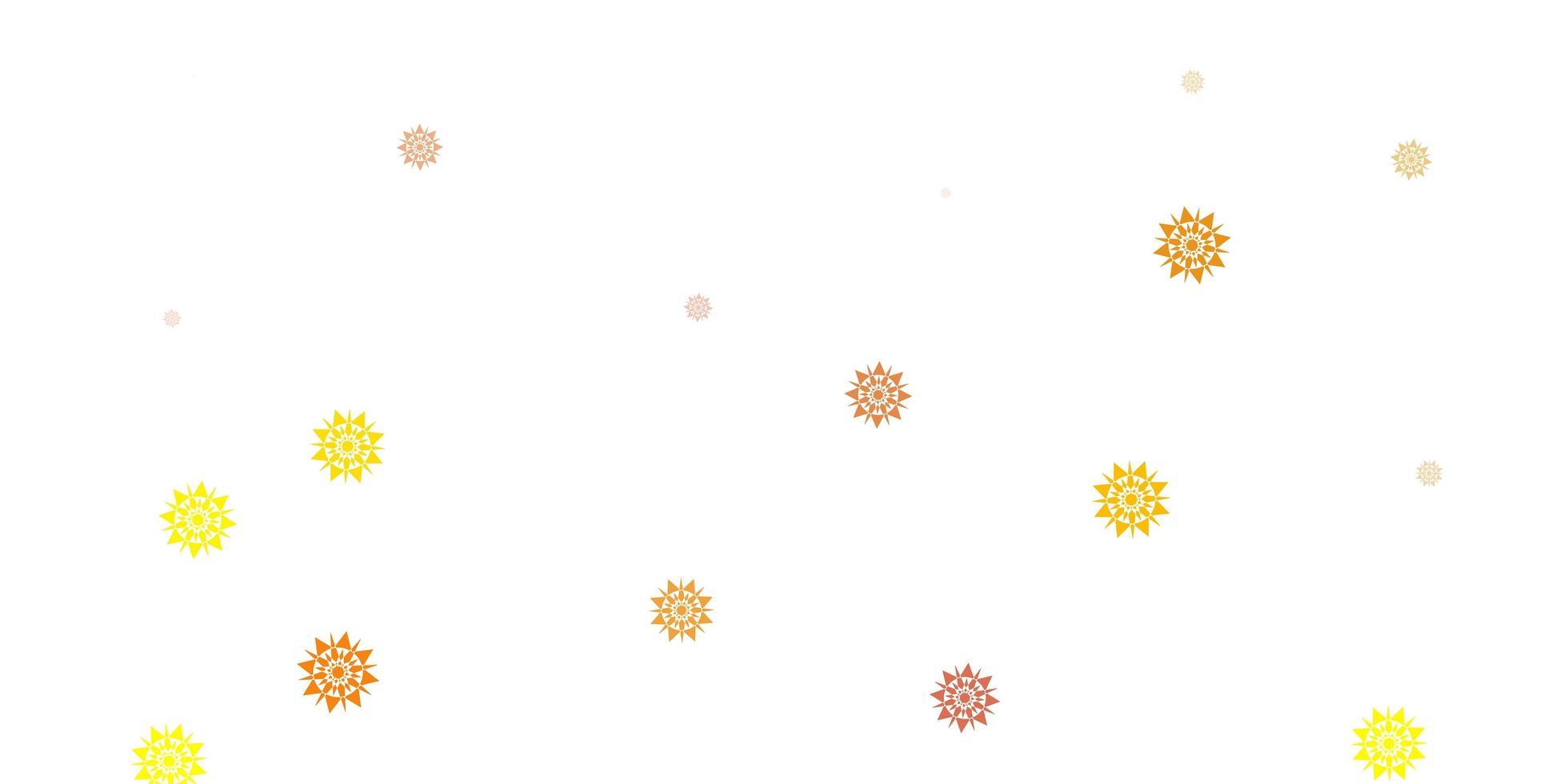 hellgelbe Vektorschablone mit Eisschneeflocken. vektor
