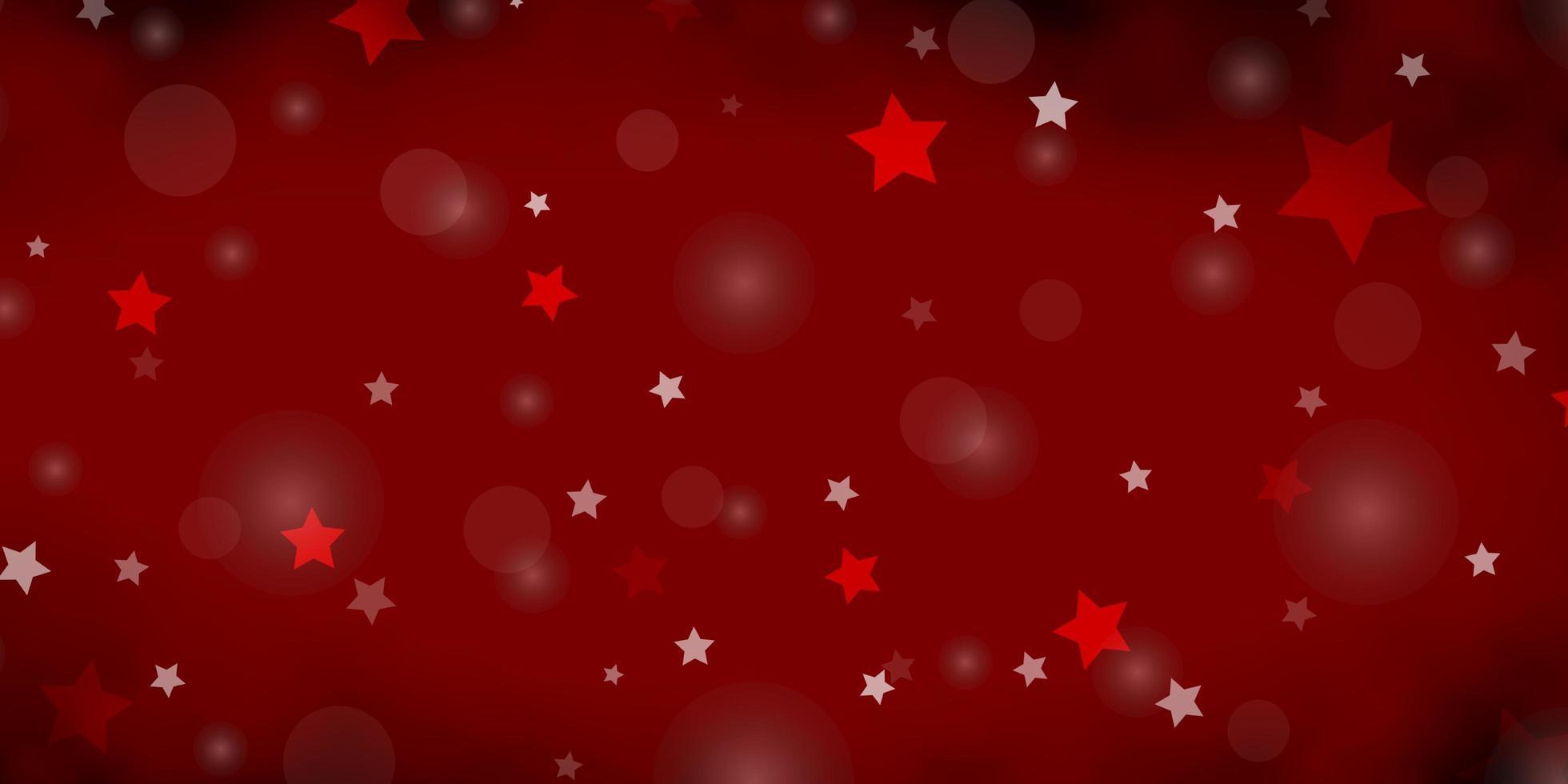 mörk röd vektor bakgrund med cirklar, stjärnor.