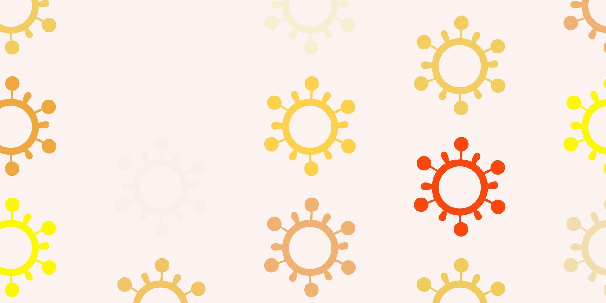 hellrosa, gelbes Vektormuster mit Coronavirus-Elementen. vektor