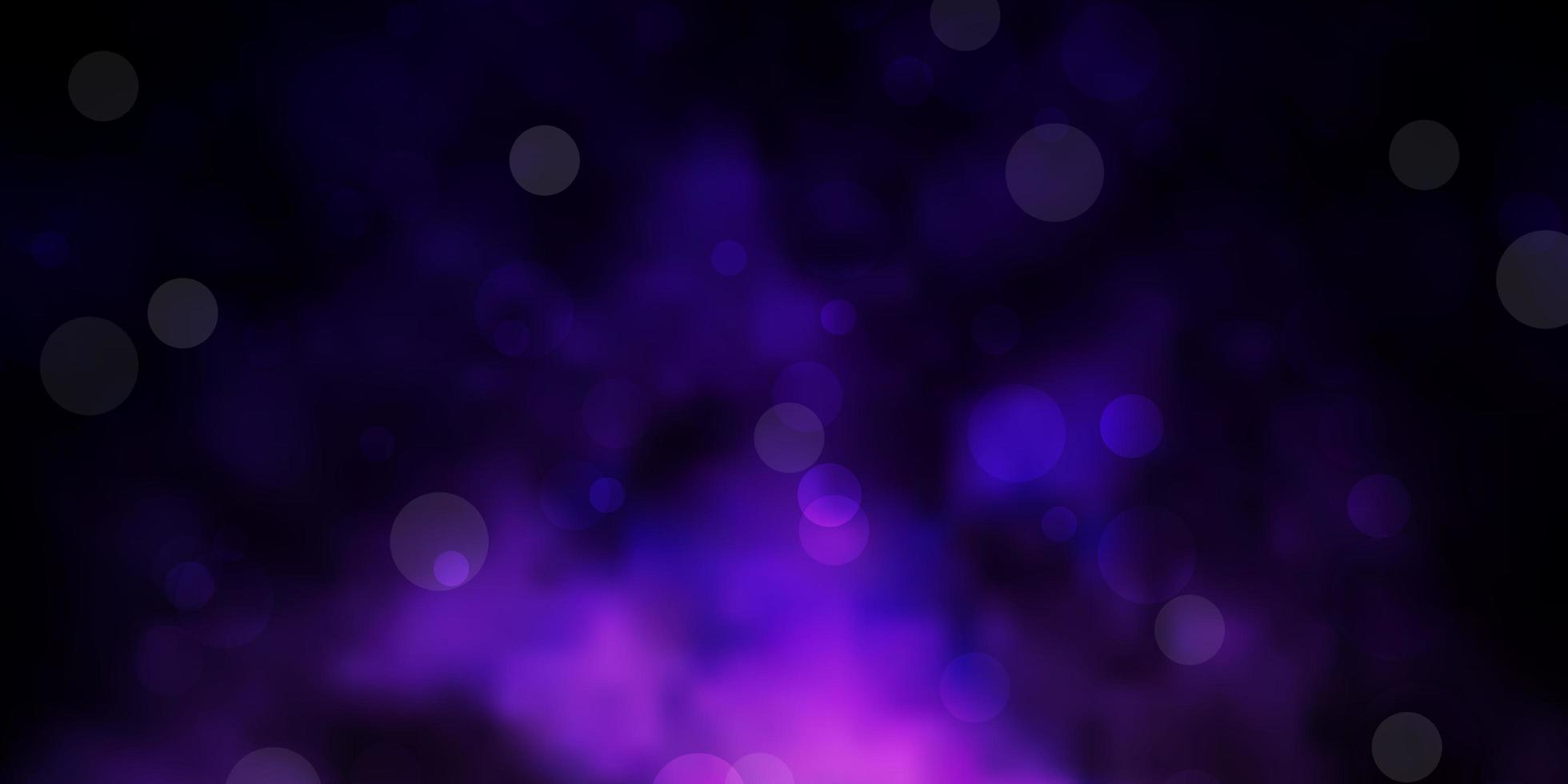 dunkelvioletter Vektorhintergrund mit Kreisen. vektor