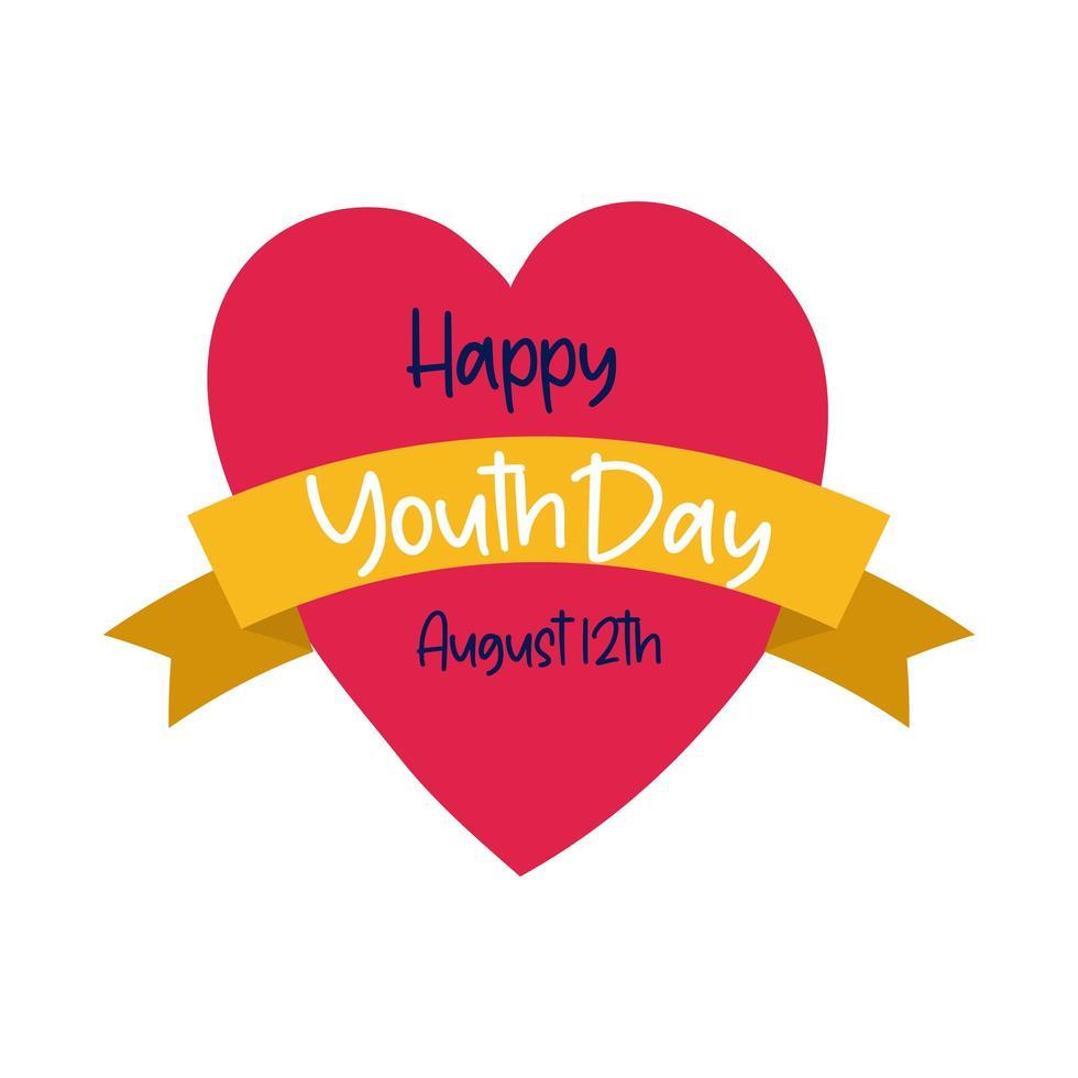 Happy Youth Day Schriftzug im Herzen flachen Stil vektor