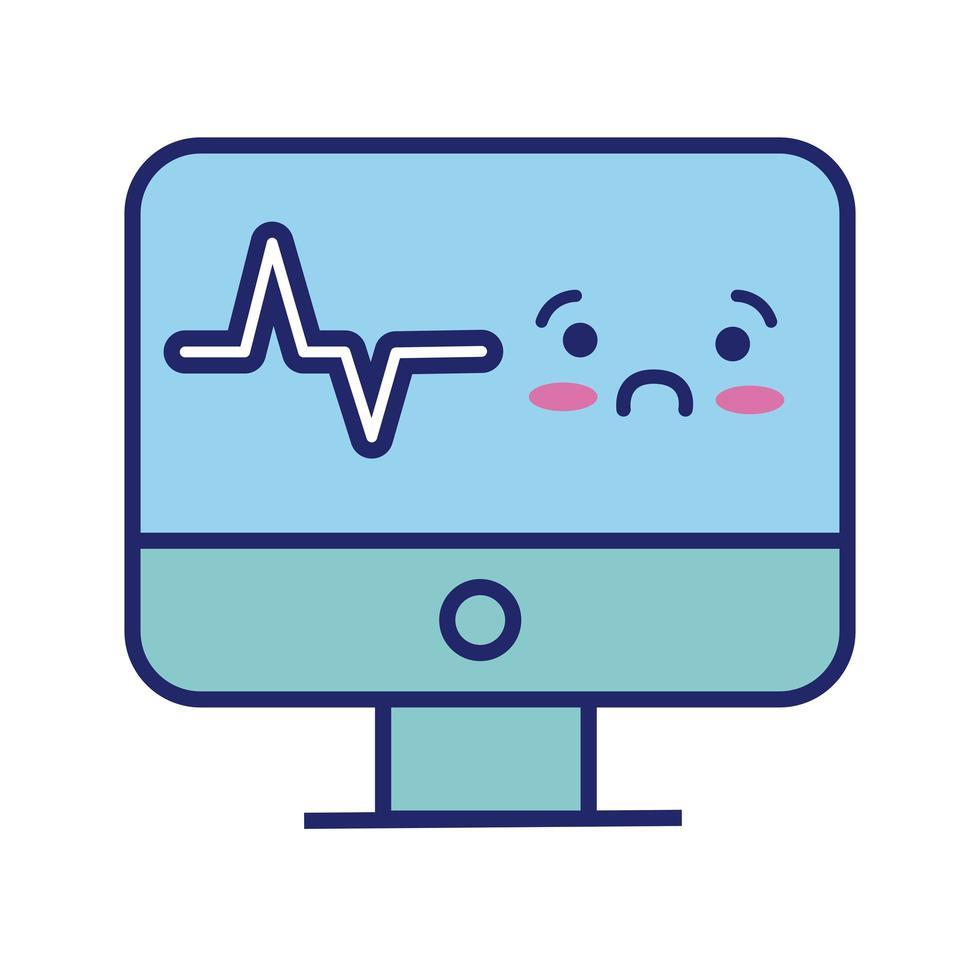 medicinsk ekg maskin kardiologi puls kawaii linje stil vektor