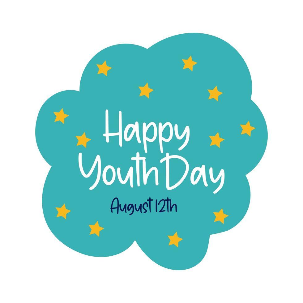 glad ungdomsdag i moln platt stil vektor