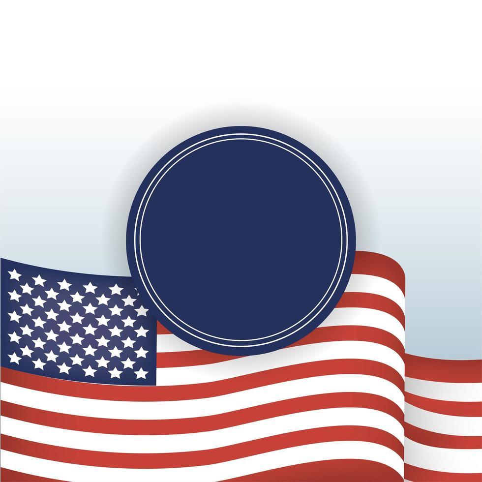 usa flagga och blå tätning stämpel vektor design