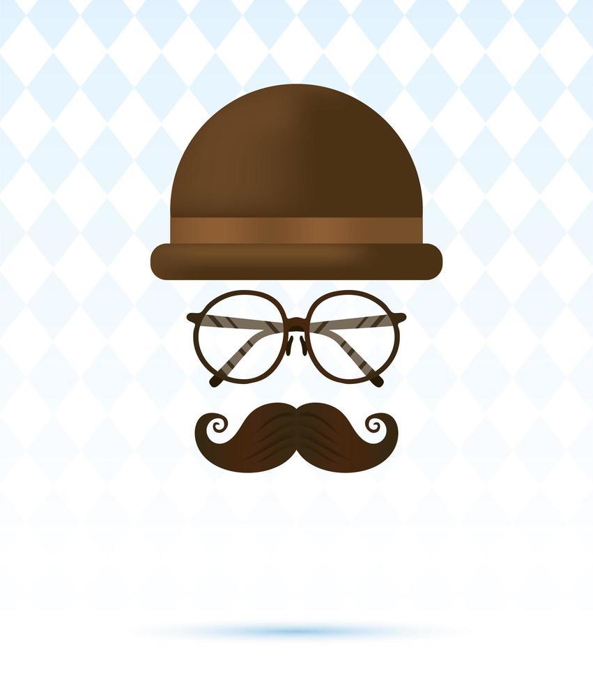 Hut, Brille und Schnurrbart für Vatertagsvektordesign vektor