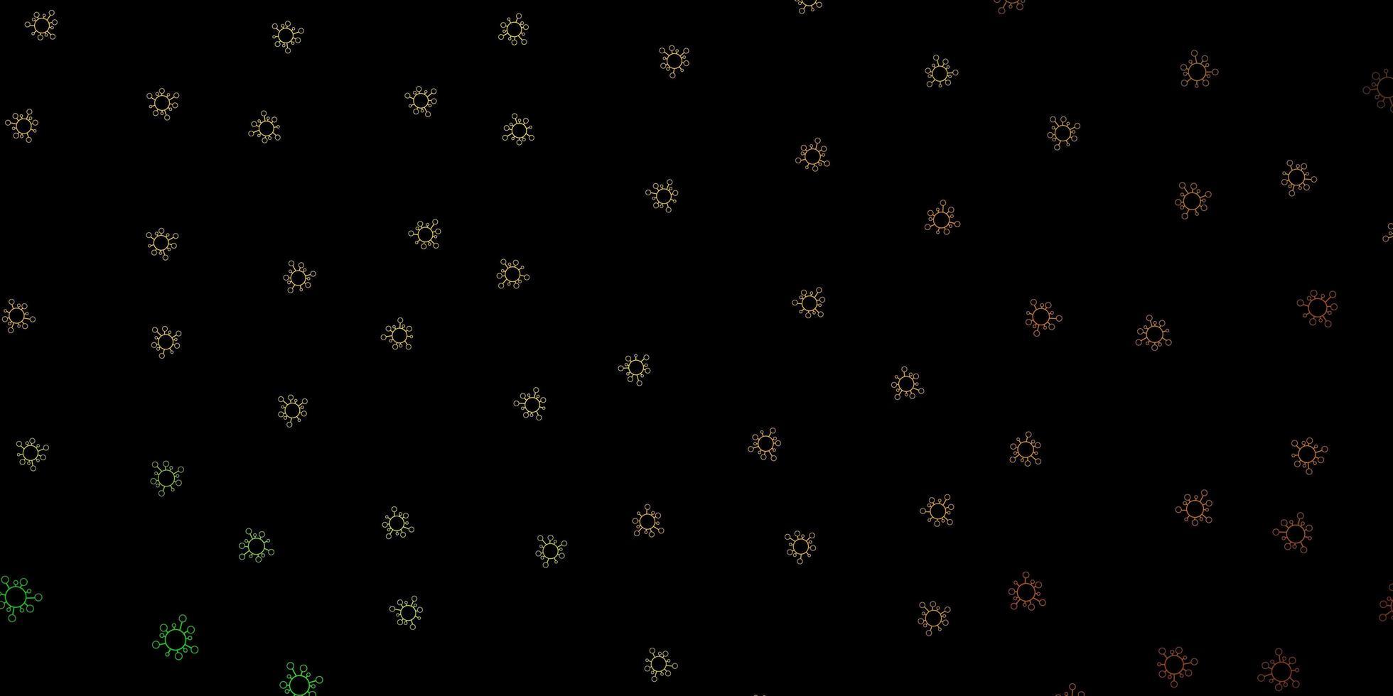 dunkelgrüner, gelber Vektorhintergrund mit Virensymbolen. vektor