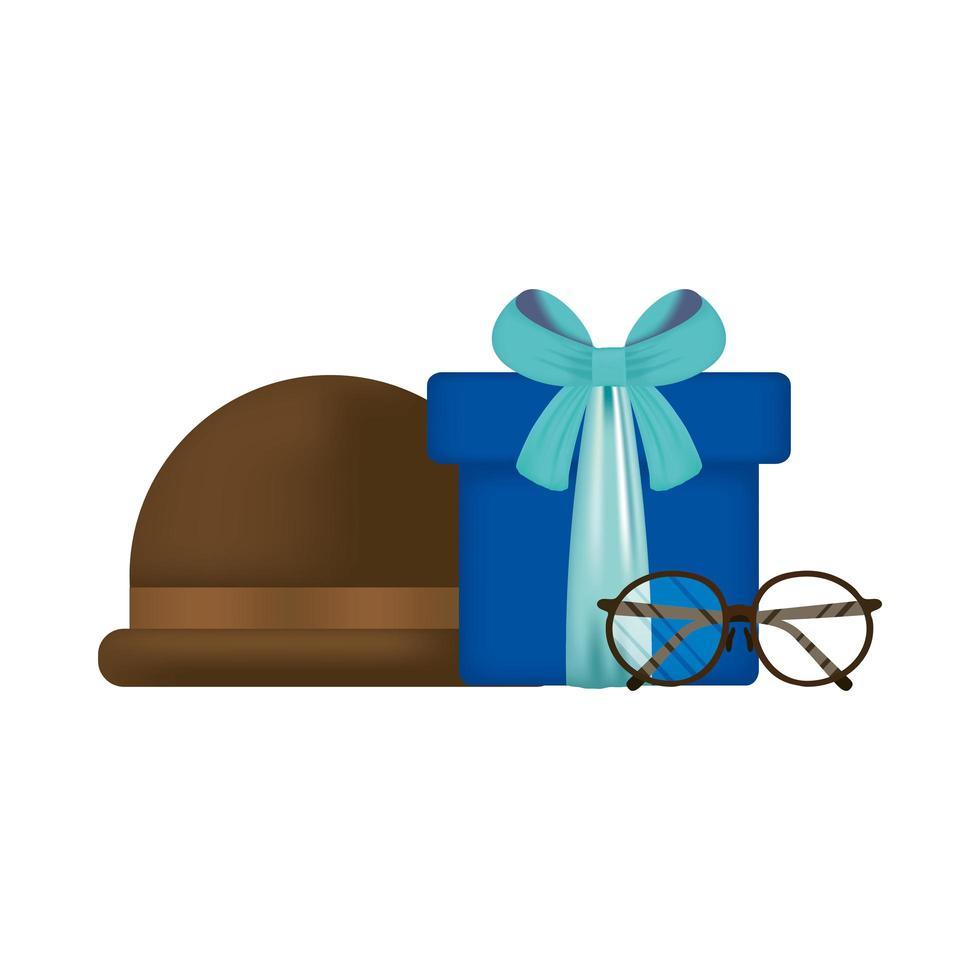 Brille, Hut und Geschenk für Vatertagsvektordesign vektor