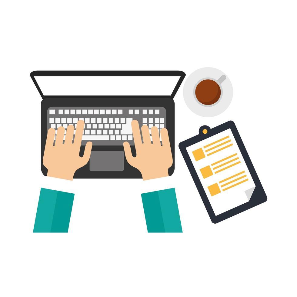 Hände mit Laptop-Kaffeetasse und Dokumentvektorentwurf vektor