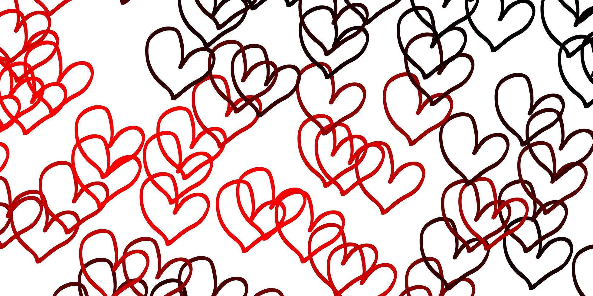 hellrotes Vektormuster mit bunten Herzen. vektor