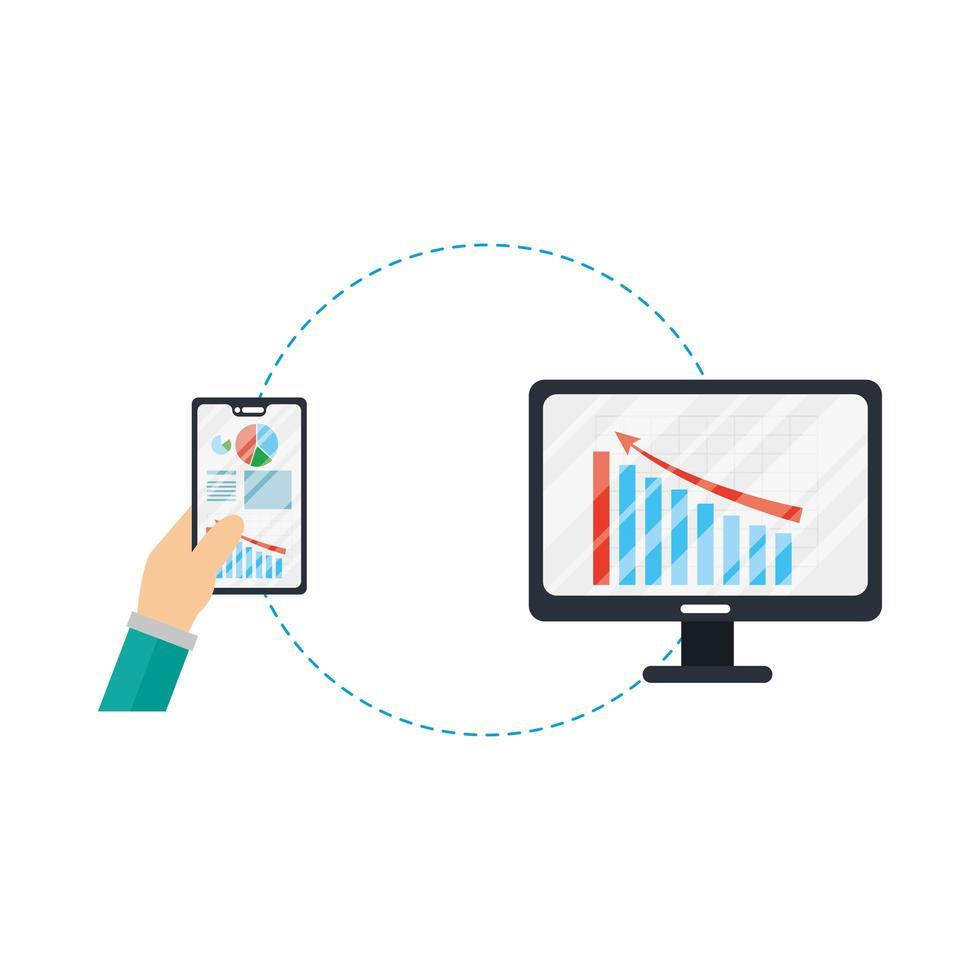 Hände halten Smartphone und Computer mit Infografik Vektor-Design vektor