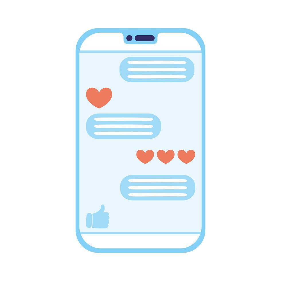smartphone-enhet med social media-teknik vektor
