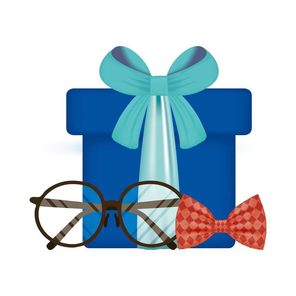 Brille, Fliege und Geschenk für Vatertagsvektordesign vektor