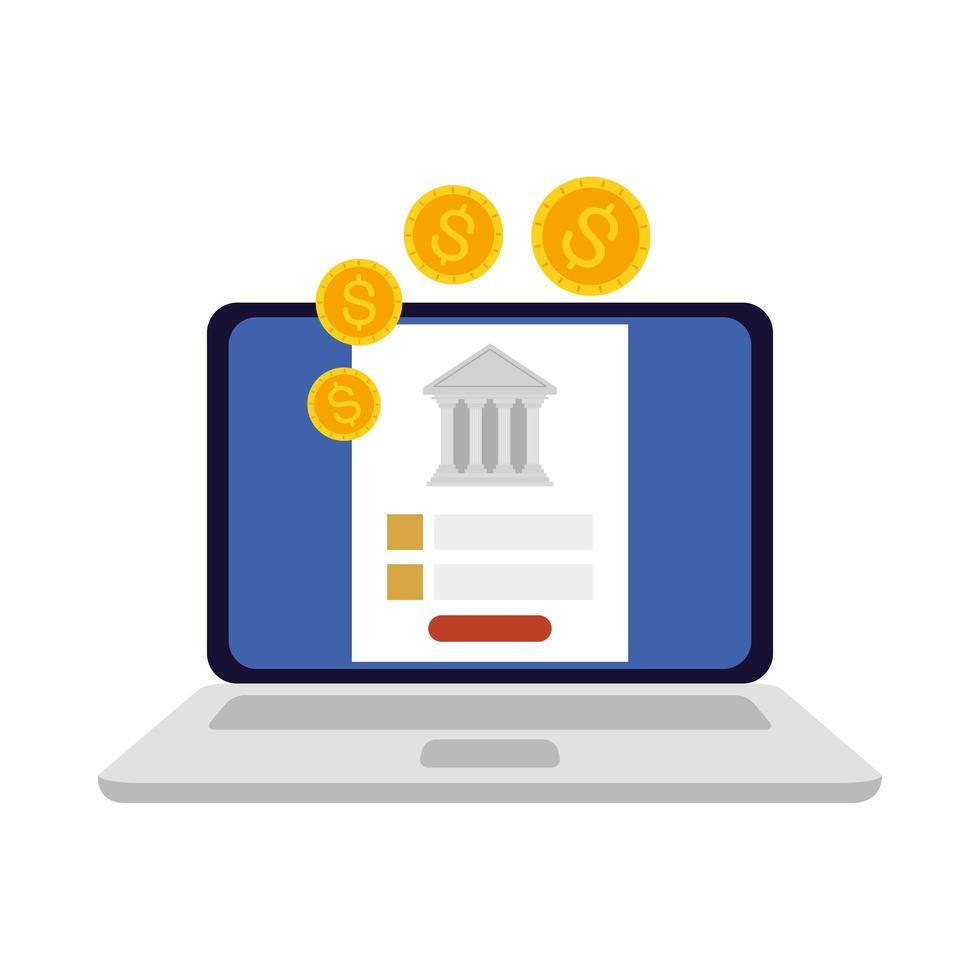 Laptop Bank und Münzen Vektor-Design vektor