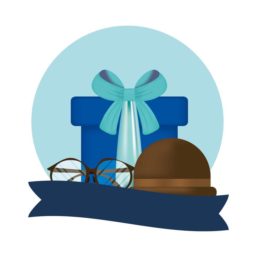 glasögon, hatt och gåva för fars dagvektordesign vektor