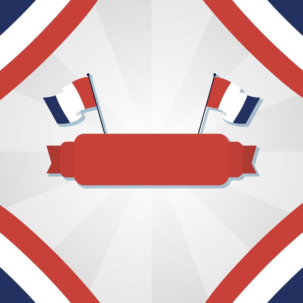 franska flaggor och band för glad design för bastildagen vektor