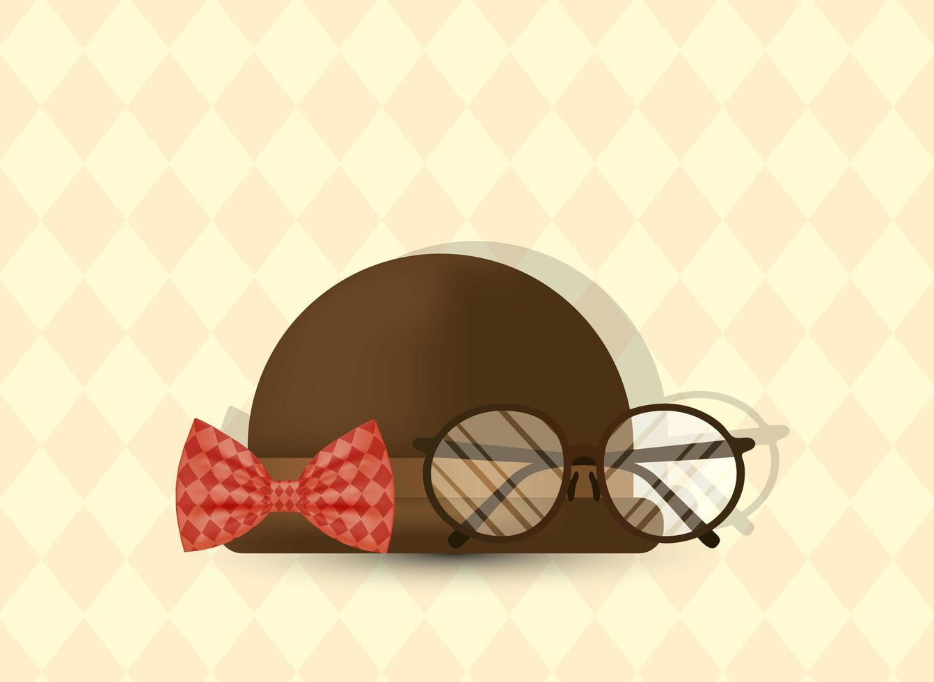 Brille, Fliege und Hut für Vatertagsvektordesign vektor