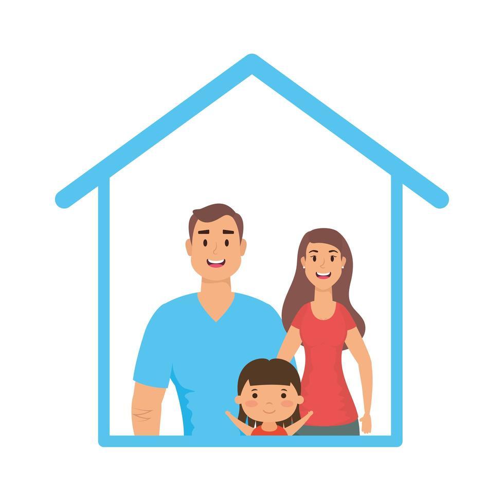 Vater Mutter und Tochter im Haus Vektor-Design vektor