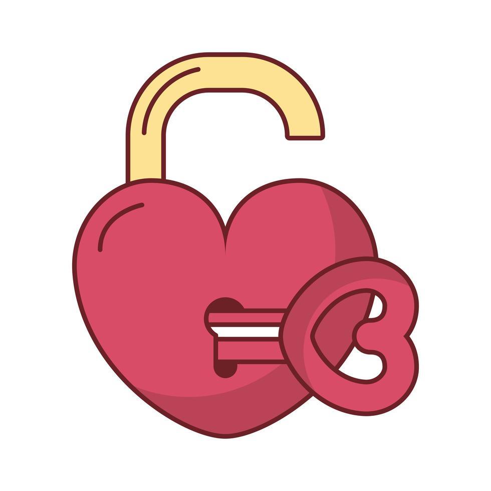 kärlek hjärta hänglås med nyckel vektor design