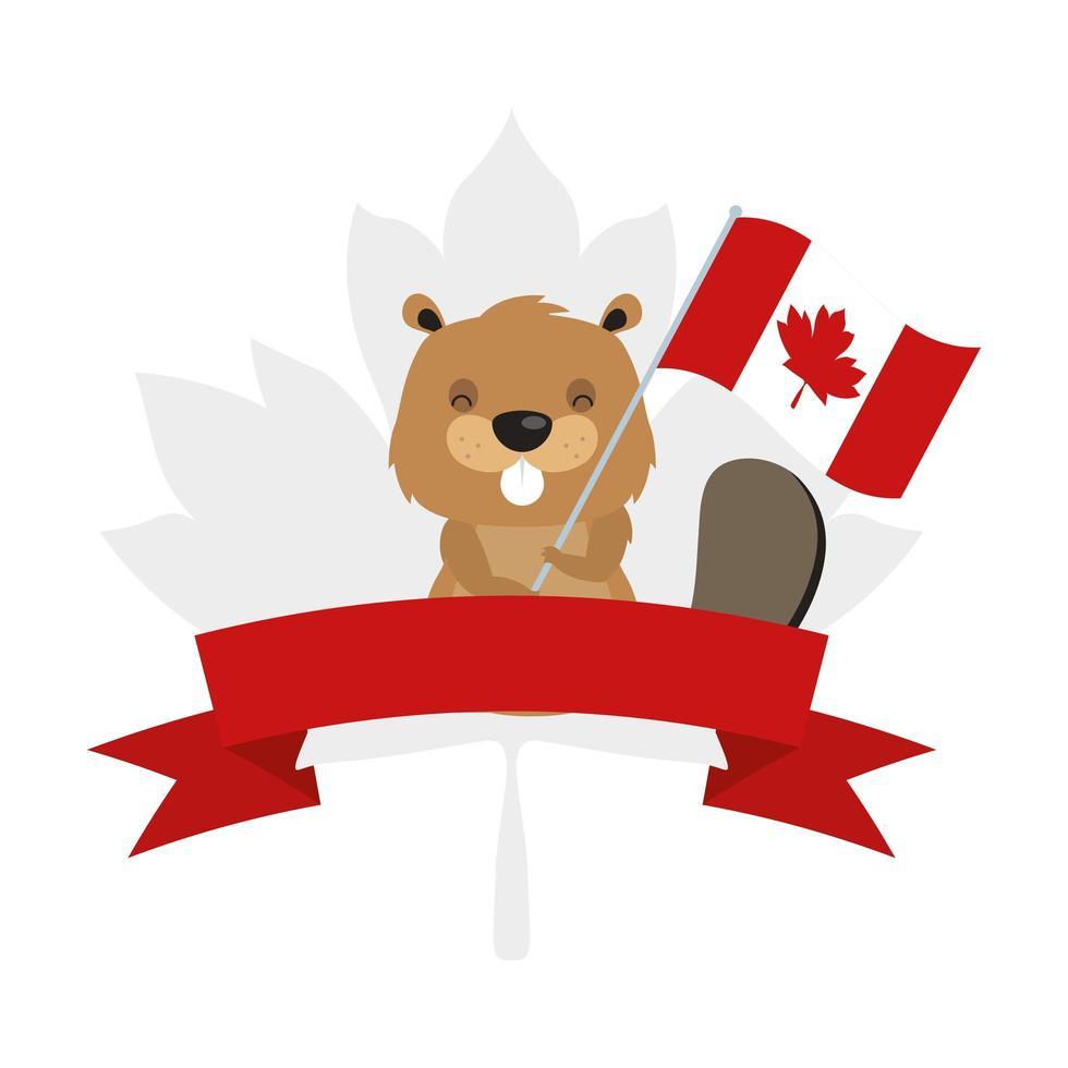 Kanadischer Biber mit Flagge für glücklichen Kanada-Tagesvektorentwurf vektor