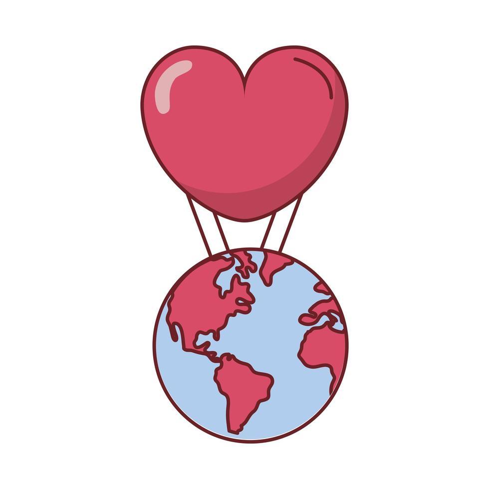 kärlekshjärta med världsdesign för varmluftsballong vektor