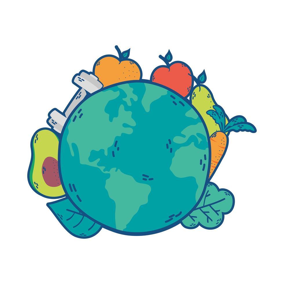 planetjorden med hälsosymboler vektor
