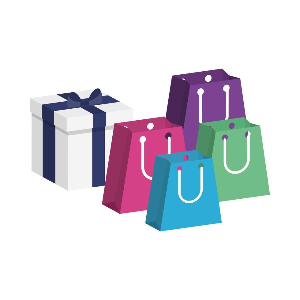 Geschenkbox mit Einkaufstüten vektor