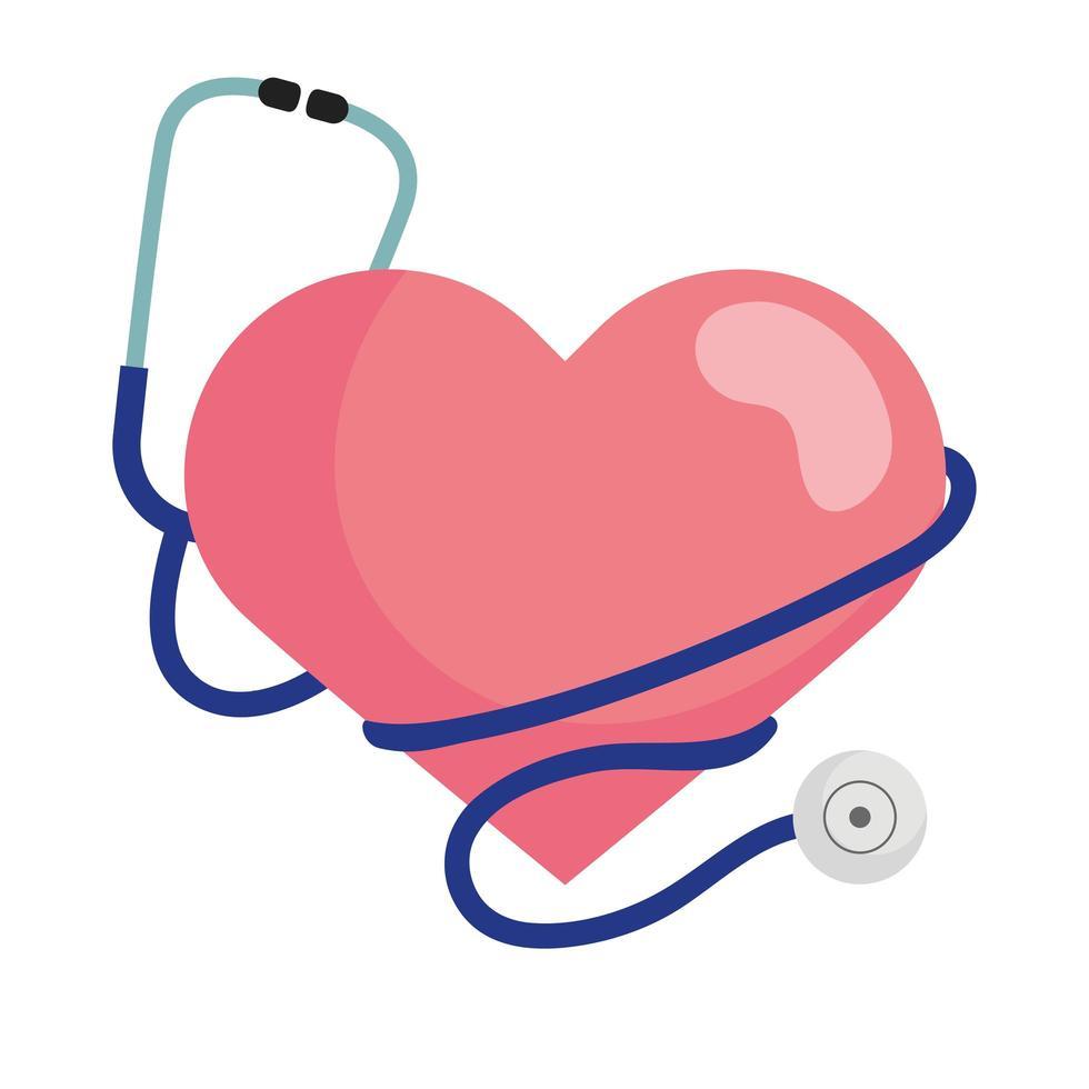 Herz mit Stethoskop-Vektorentwurf vektor