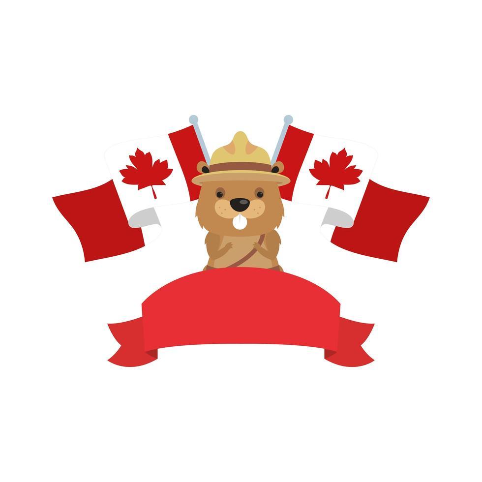 Kanadischer Biber mit Hut und Kanada-Flaggen für glücklichen Kanada-Tagesvektorentwurf vektor