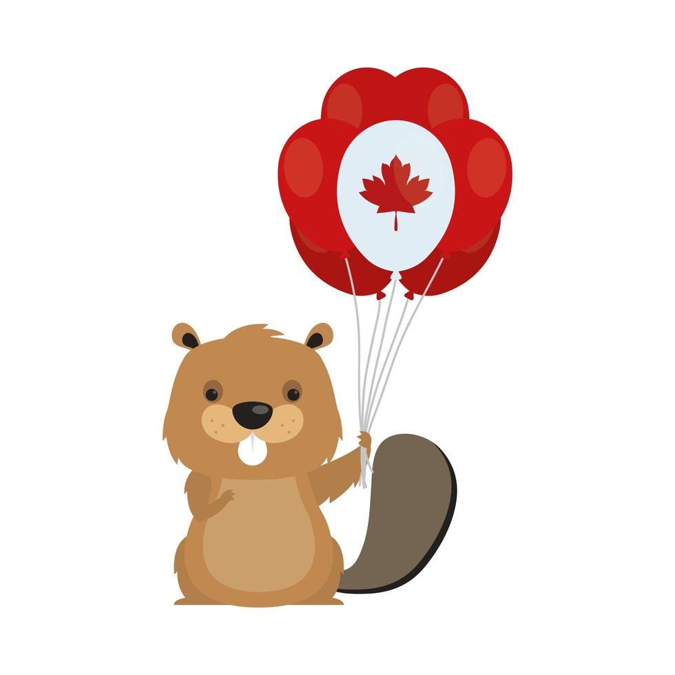 Kanadischer Biber mit Ballon für glücklichen Kanada-Tagesvektorentwurf vektor