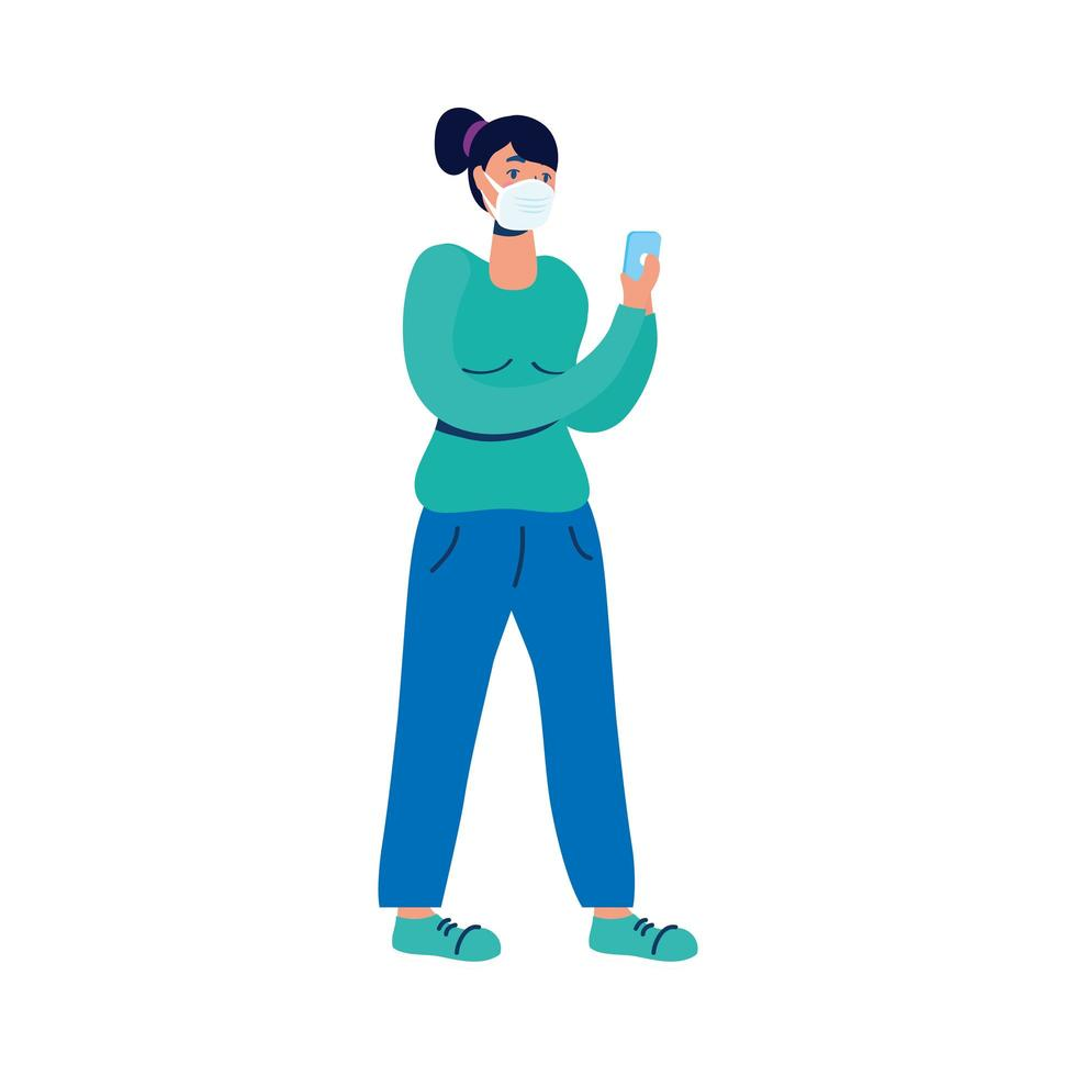 junge Frau mit medizinischer Maske und Smartphone vektor
