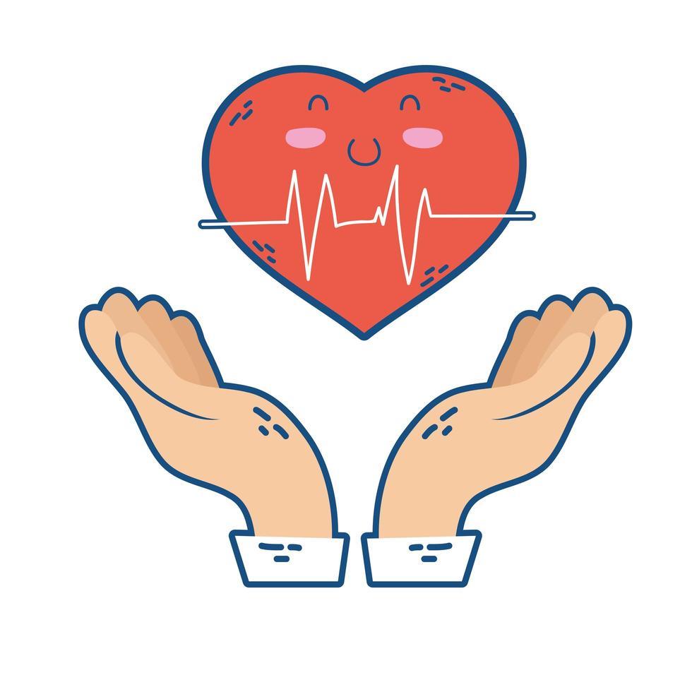 Hände heben Herz Cardio Charakter vektor