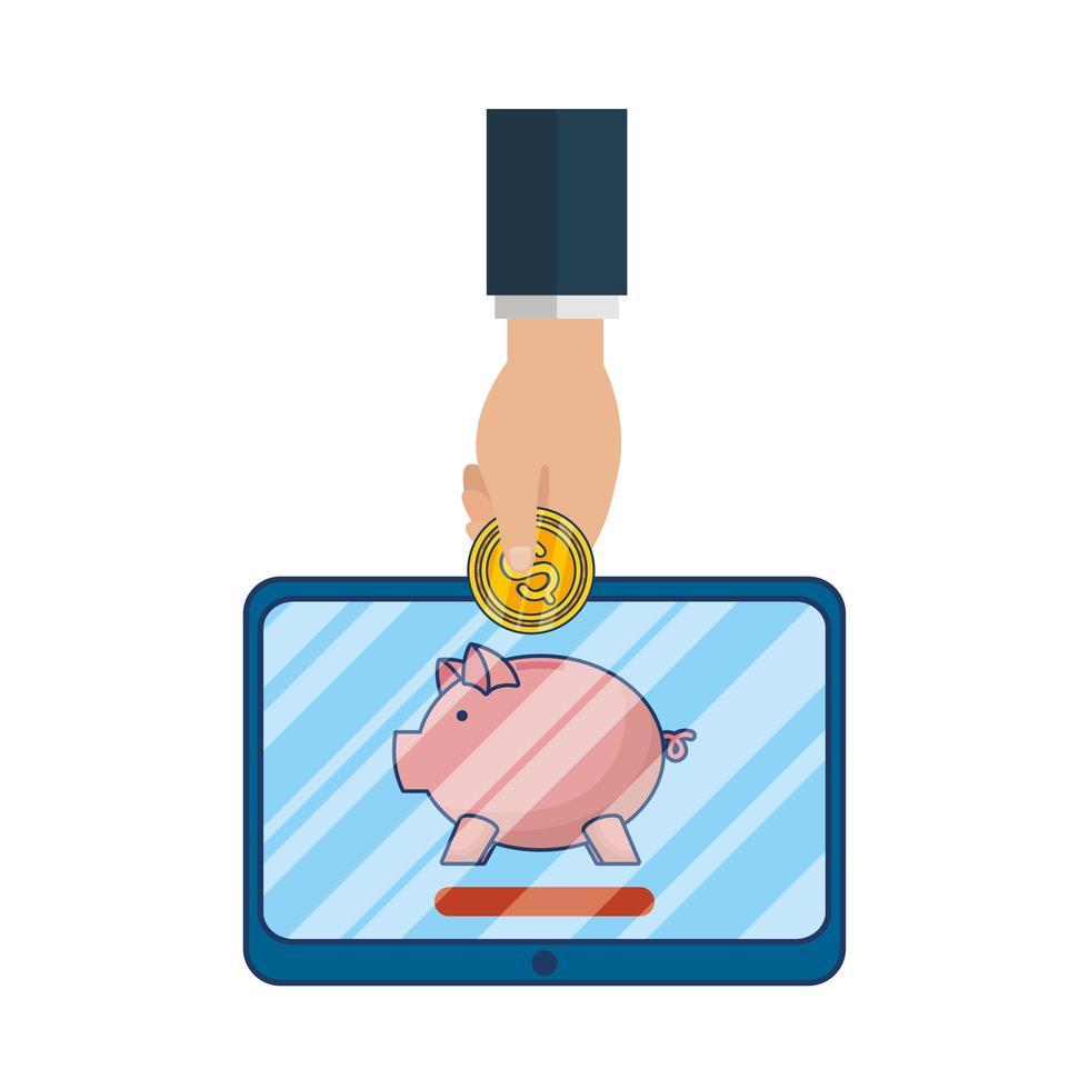 Hand eine Münze in ein digitales Sparschwein legen vektor