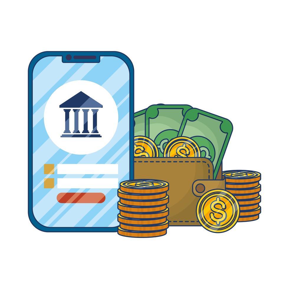 Online-E-Commerce mit Smartphone und Geld vektor