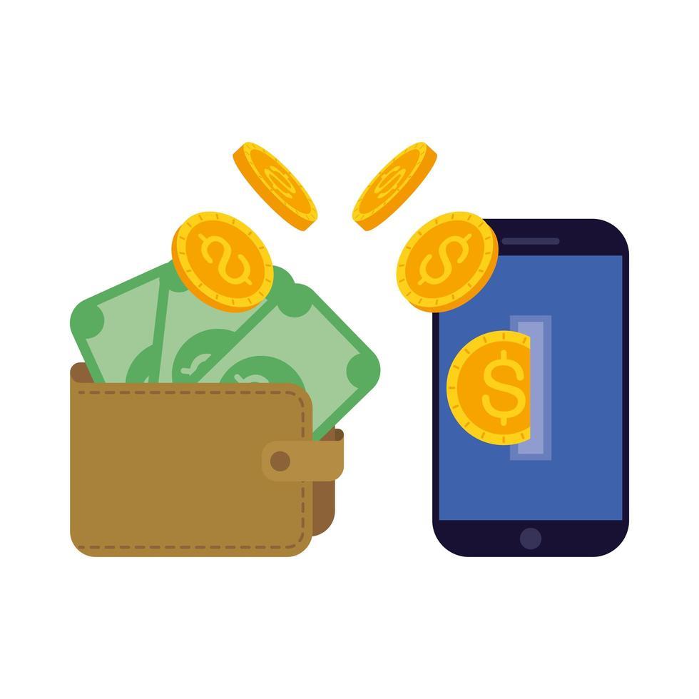 Geldscheine und Münzen, die von der Brieftasche zum Smartphone gelangen vektor