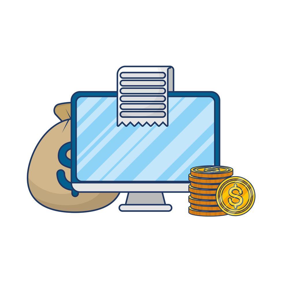 Online-E-Commerce auf dem Desktop mit Geld und Quittung vektor