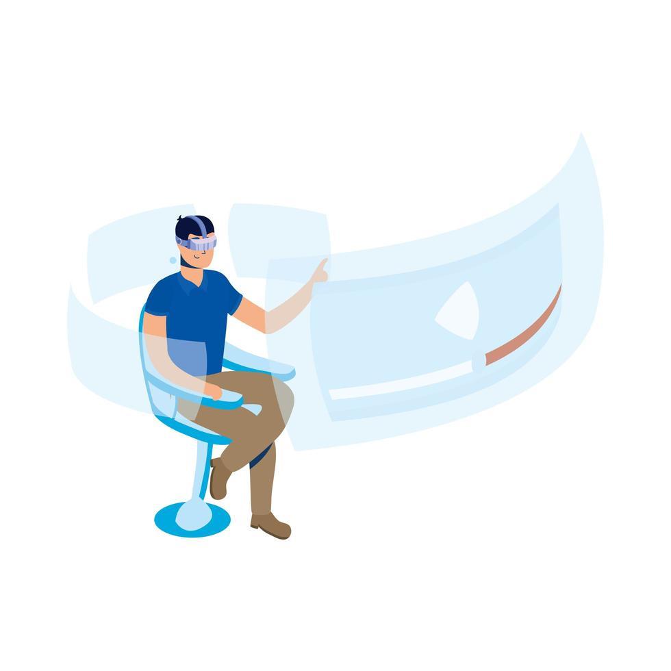 junger Mann, der Virtual-Reality-Technologie im Stuhl mit interaktiver Anzeige verwendet vektor