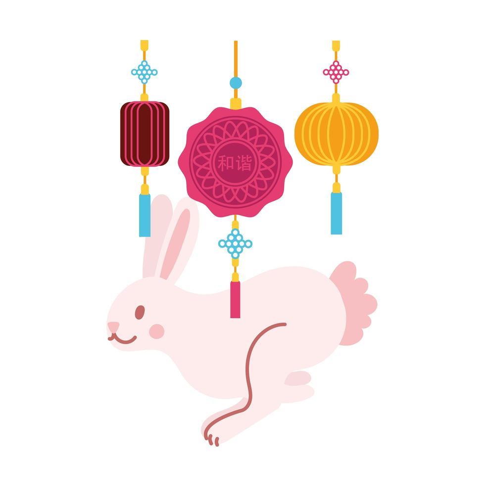 Mittherbstfestkarte mit flacher Stilikone des Kaninchens und der Spitze hängend vektor