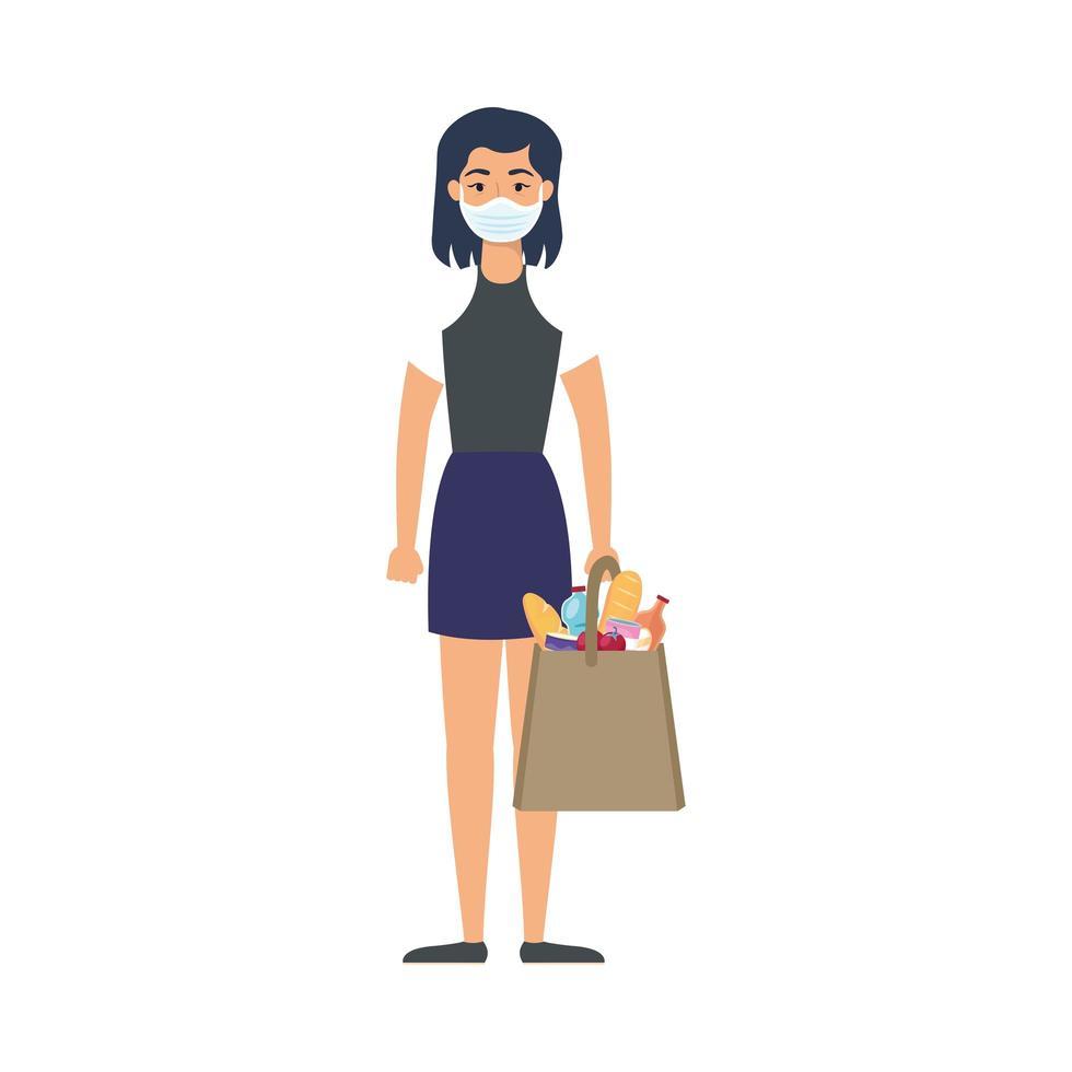 junge Frau mit medizinischer Maske mit Markttasche vektor